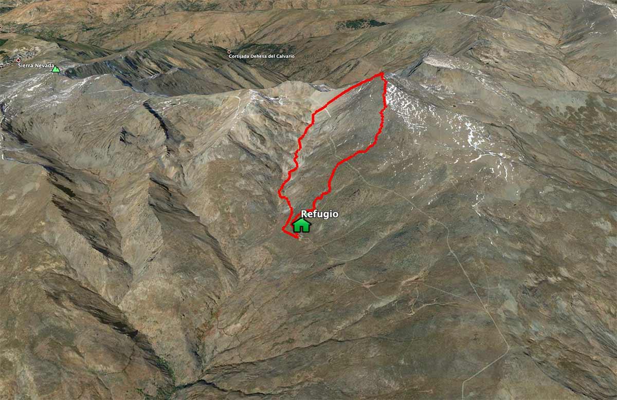 Mapa Mulhacén desde el refugio