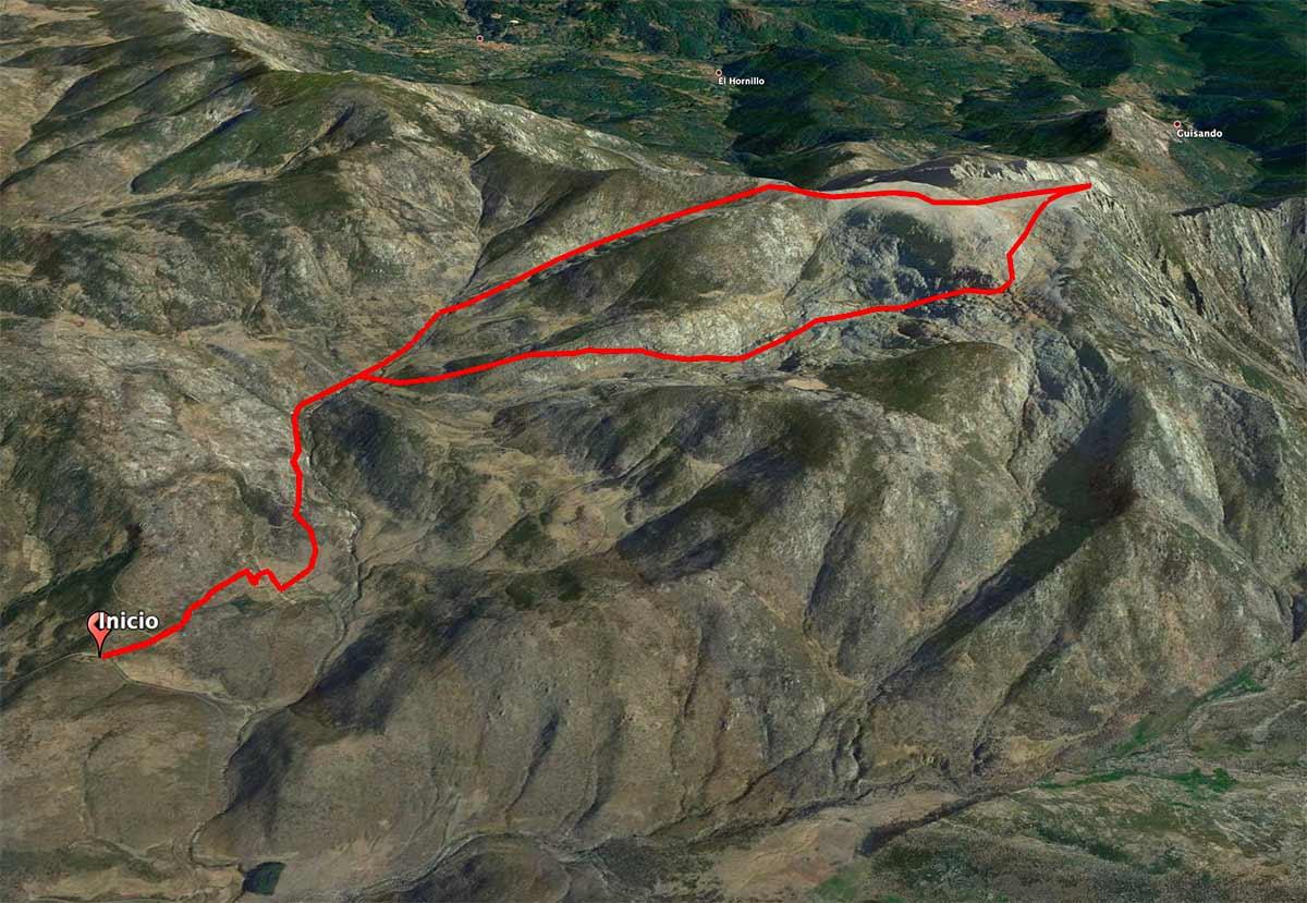 Mapa de la ascensión a la Mira