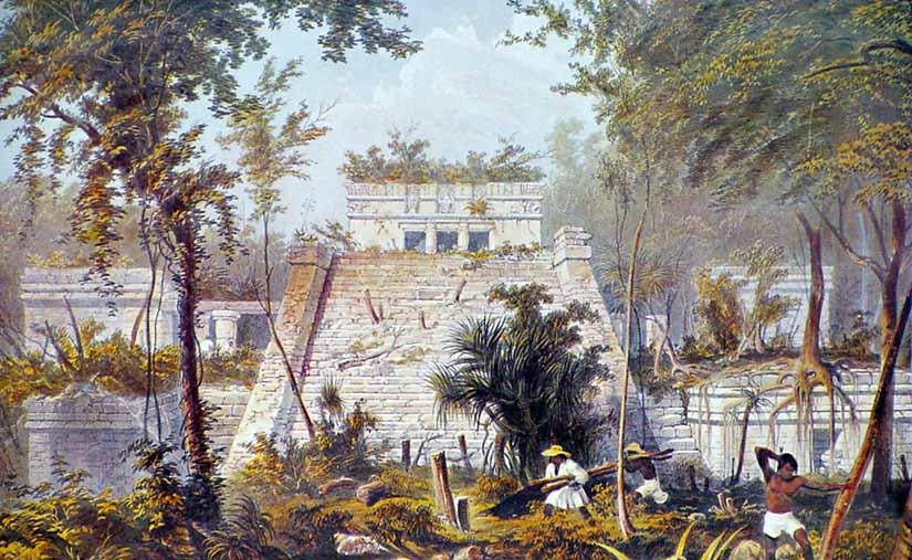Templo principal, El Castillo, Tulum, by Frederick Catherwood, 1844