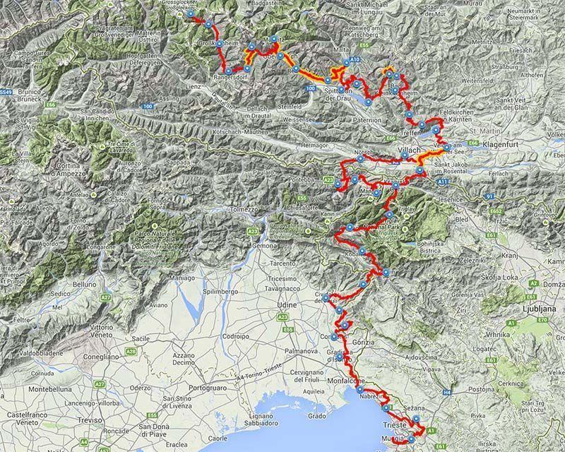 Mapa Alpe Adria Trial