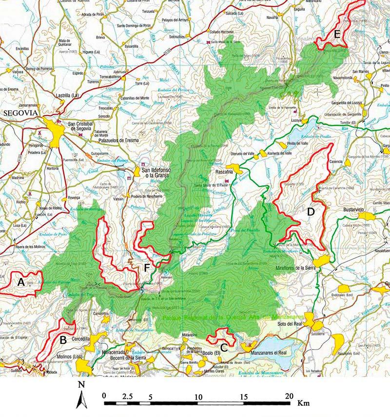 Mapa del Parque Nacional de Guadarrama