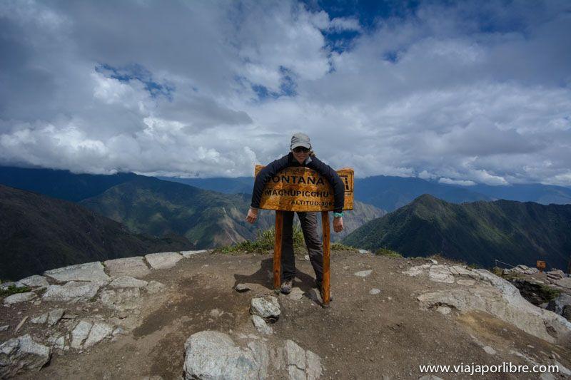 Cartel en Montaña Machu Picchu