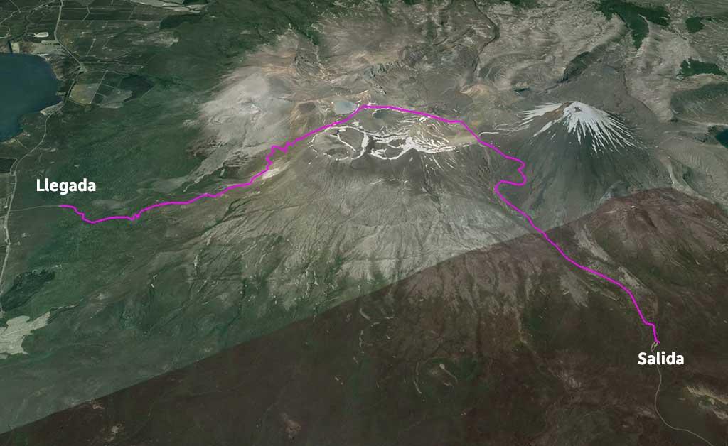 Mapa - Tongariro Alpne Crossing