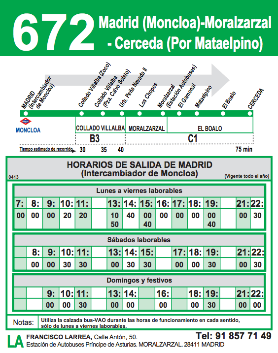 Horario BUS 672