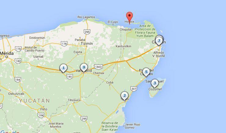 Mapa con las principales excursiones