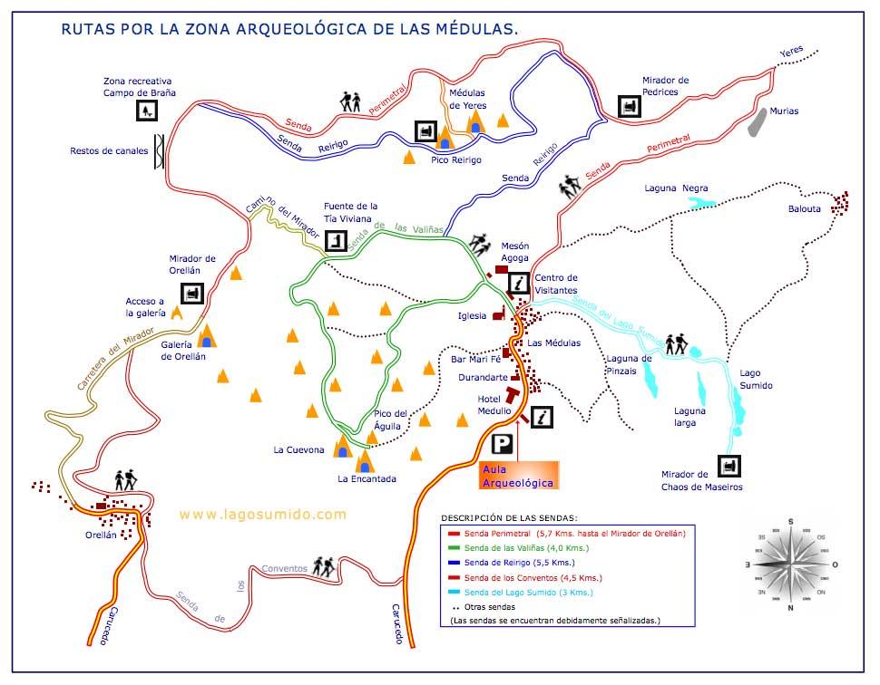 Mapa de las Médulas. Fuente: www.lagosumido.com