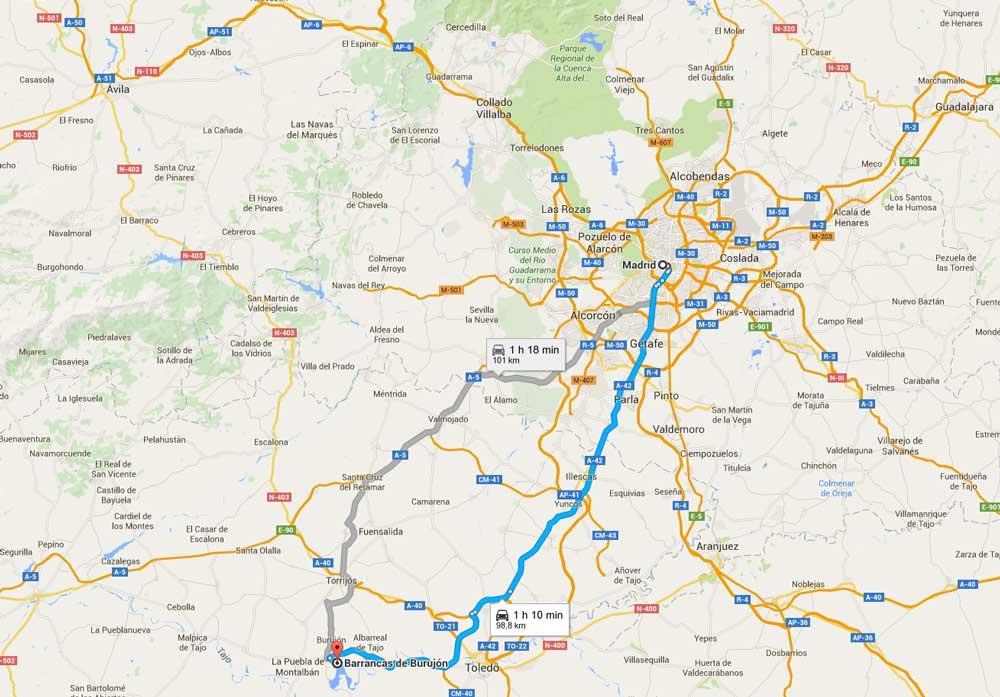 Ruta hacia las Barrancas de Burujón