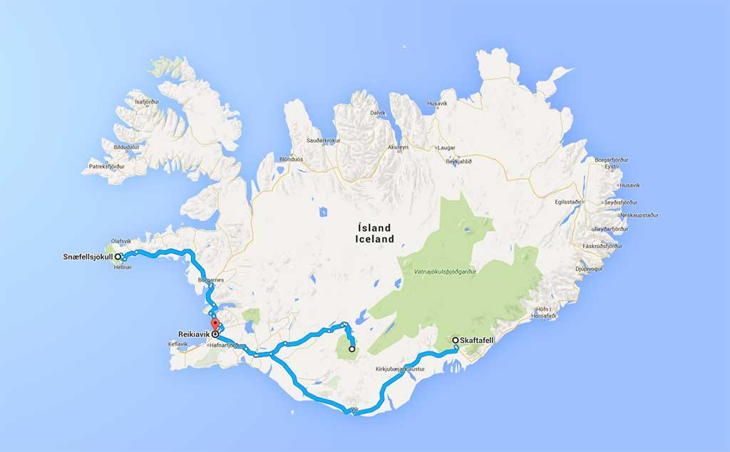 Mapa de las tres rutas