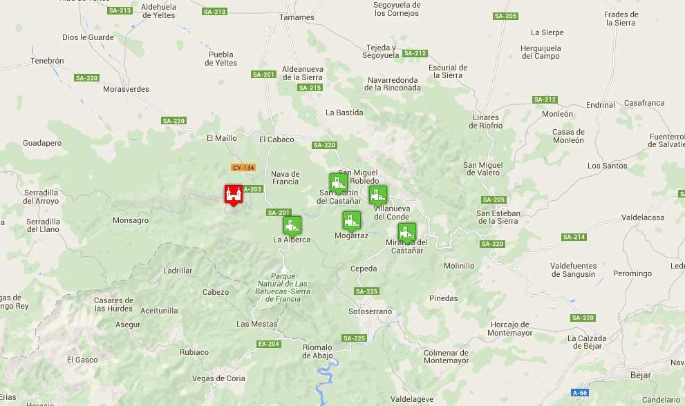 Mapa de la Sierra de Francia