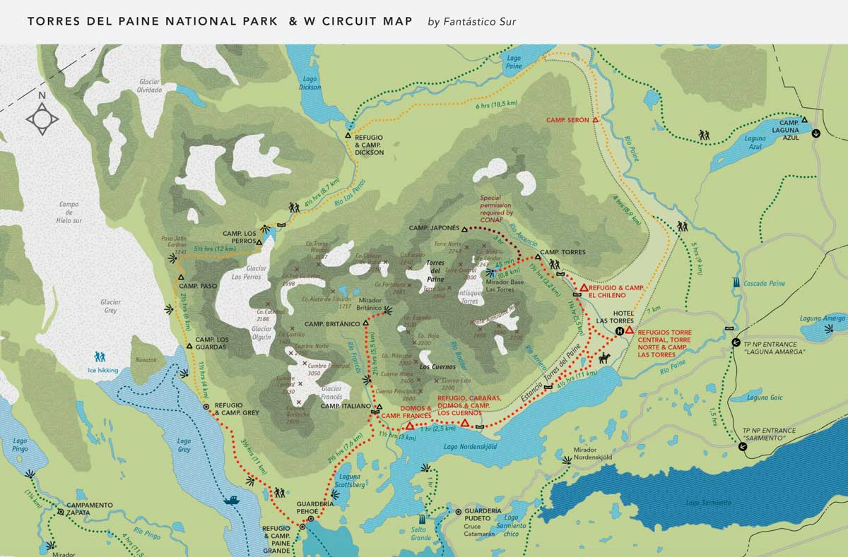 Mapa deTorres del Paine
