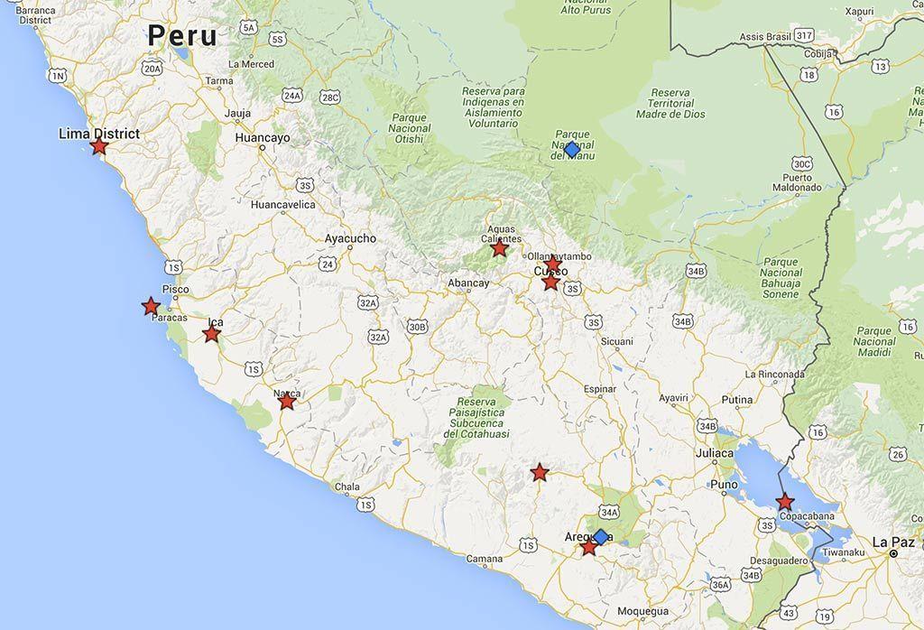Que ver en Perú en 15 dias - Mapa