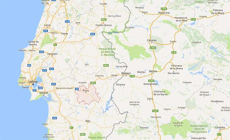 Mapa de Evora