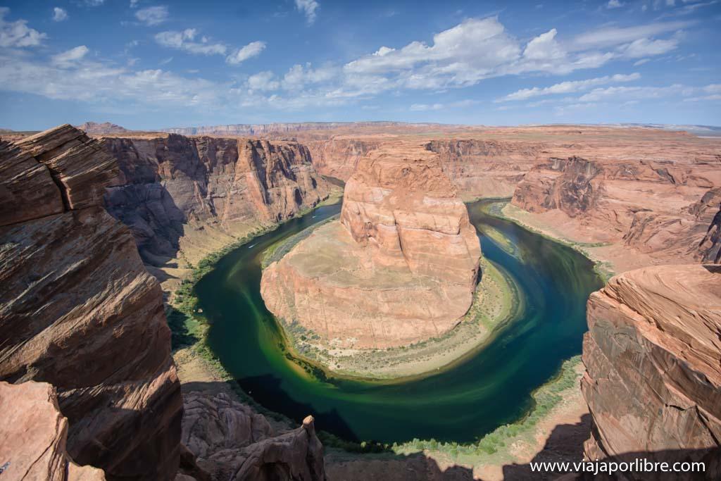 El meandro más espectacular, la curva de la herradura (horseshoe bend)