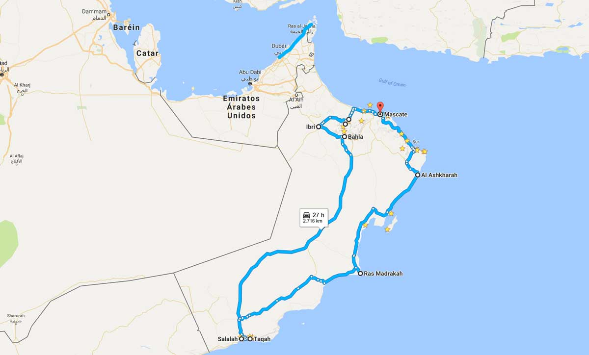 Mapa del viaje a Omán