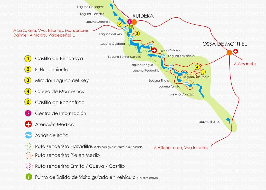 Mapa de las Lagunas de Ruidera