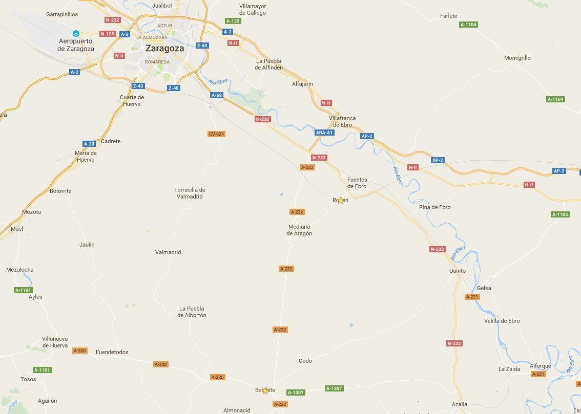 Mapa de Roden y Belchite