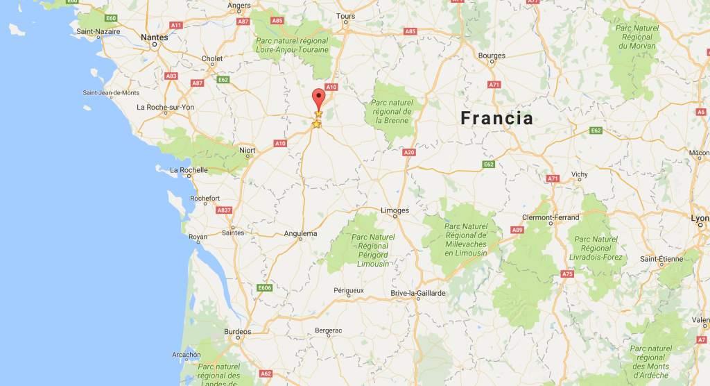 Ubicación de Poitiers y Futuroscope