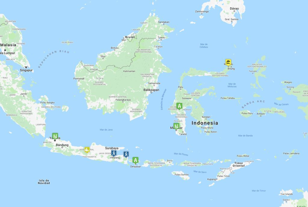 Mapa de la ruta en Indonesia