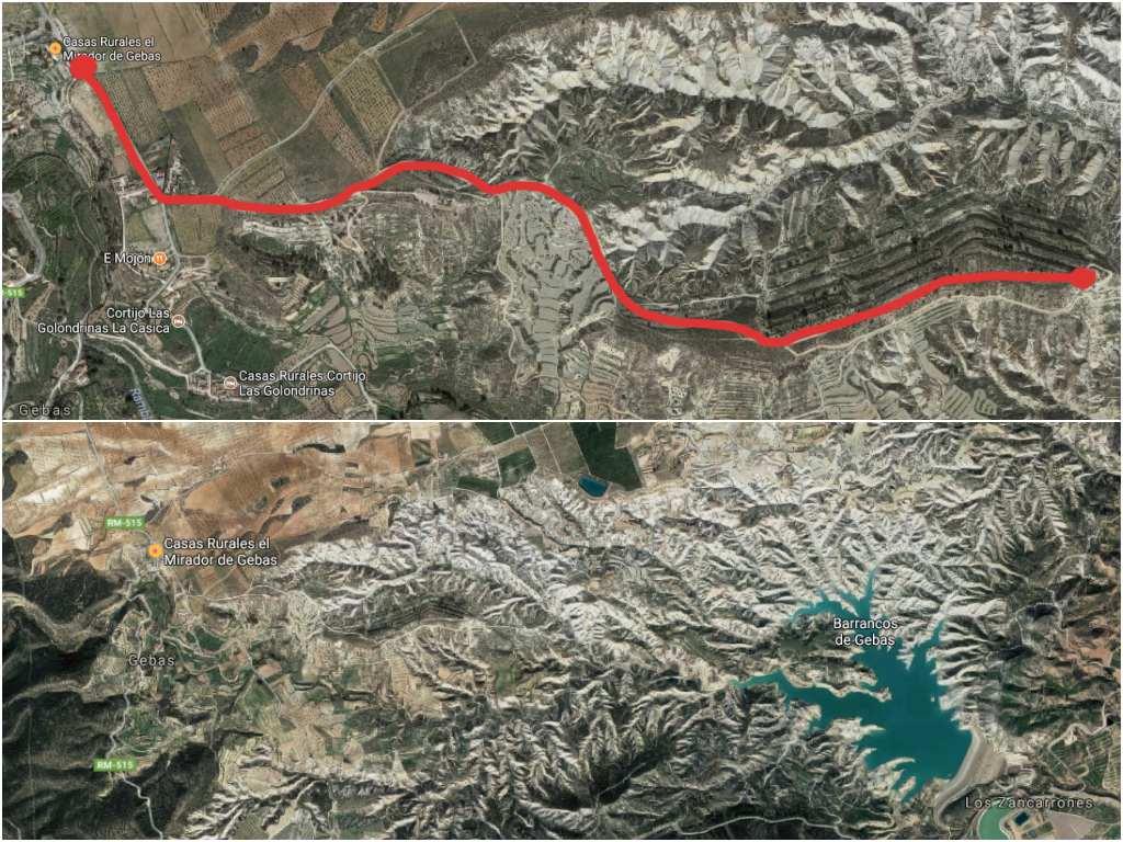Mapa de acceso al Barranco de Gebas