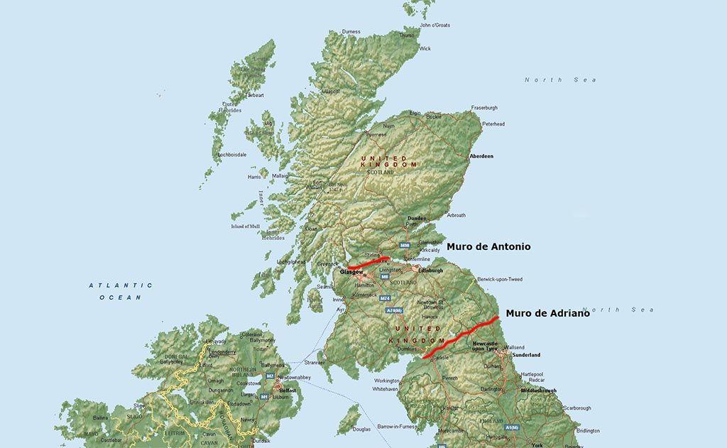 Mapa del muro de Adriano