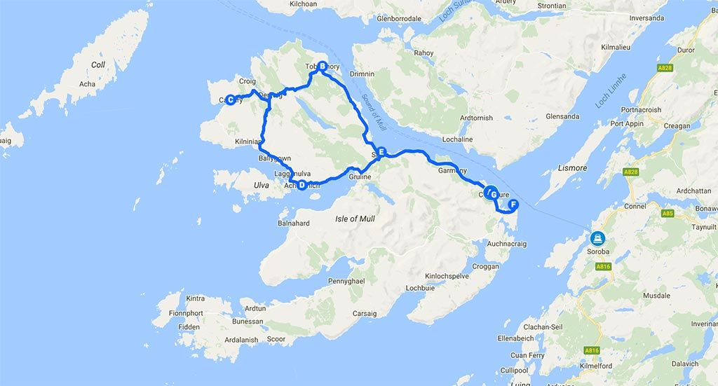 Mapa de la isla de Mull