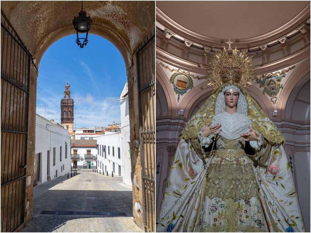 La puerta de la Alcazaba y la virgen de la Iglesia de Santa Catalina