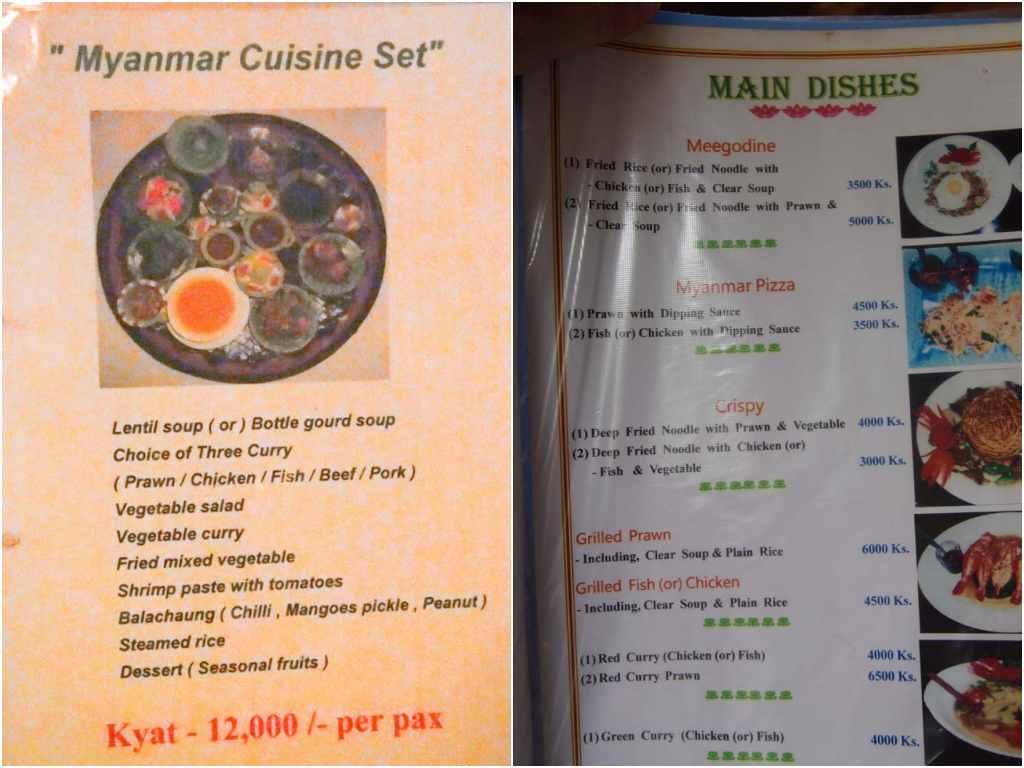 Menus en Myanmar