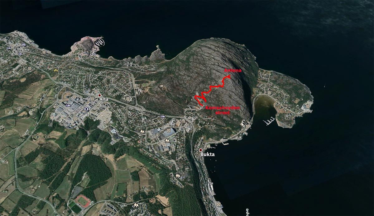 Mapa ruta a Komsa desde Alta