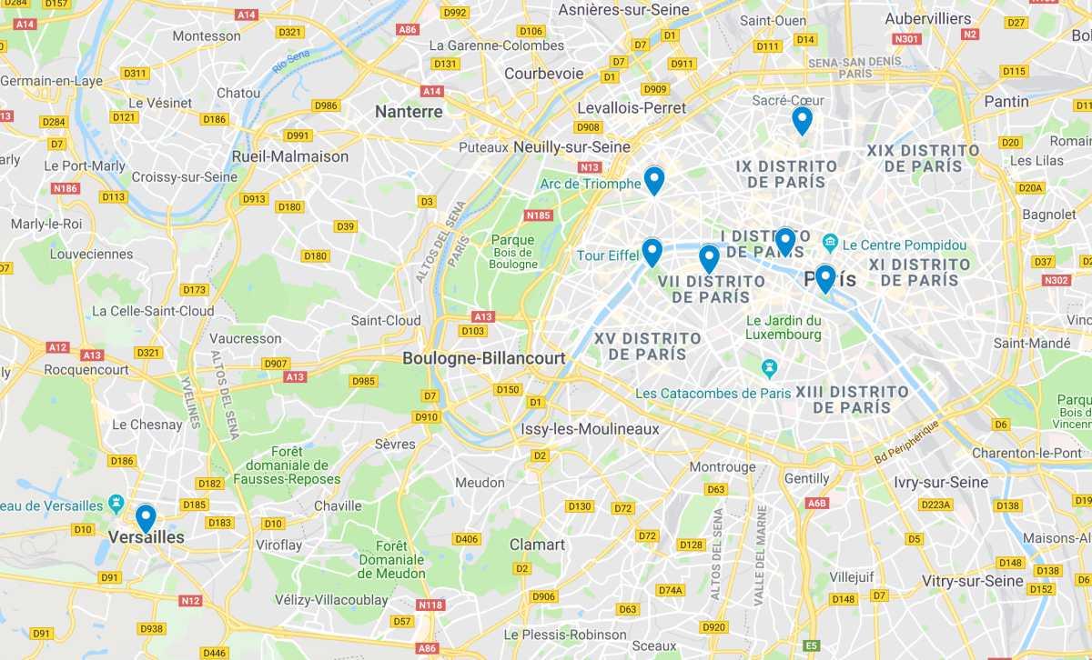 Lugares de interés de París