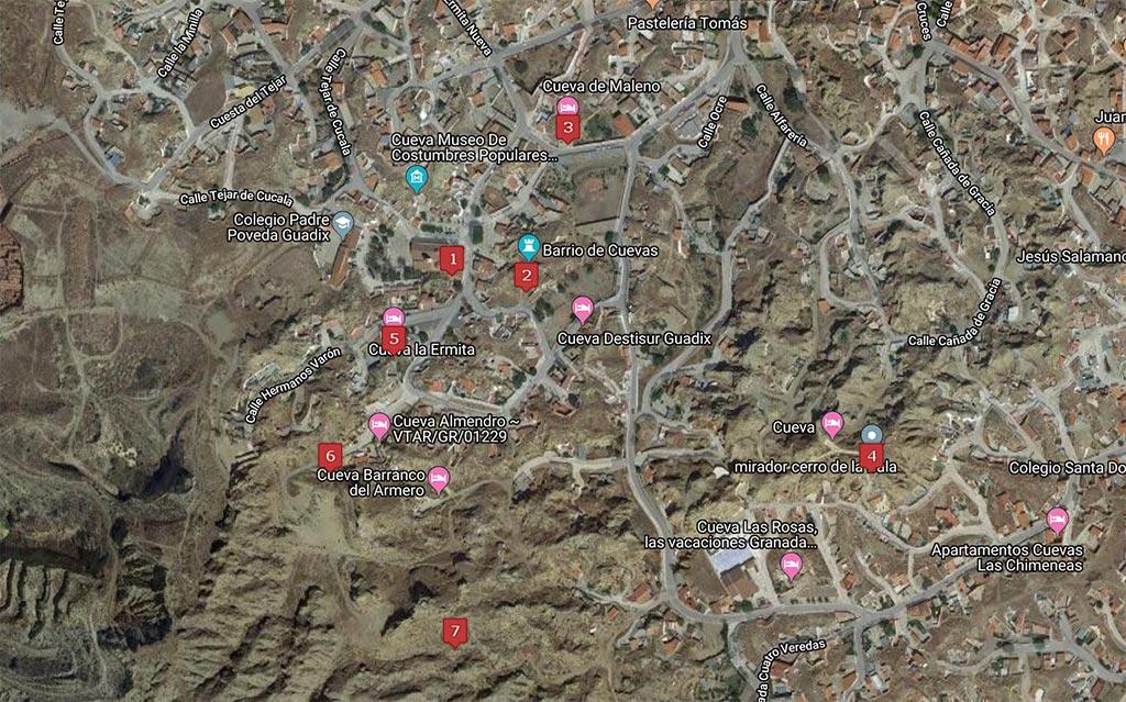 Mapa de las cuevas de Guadix