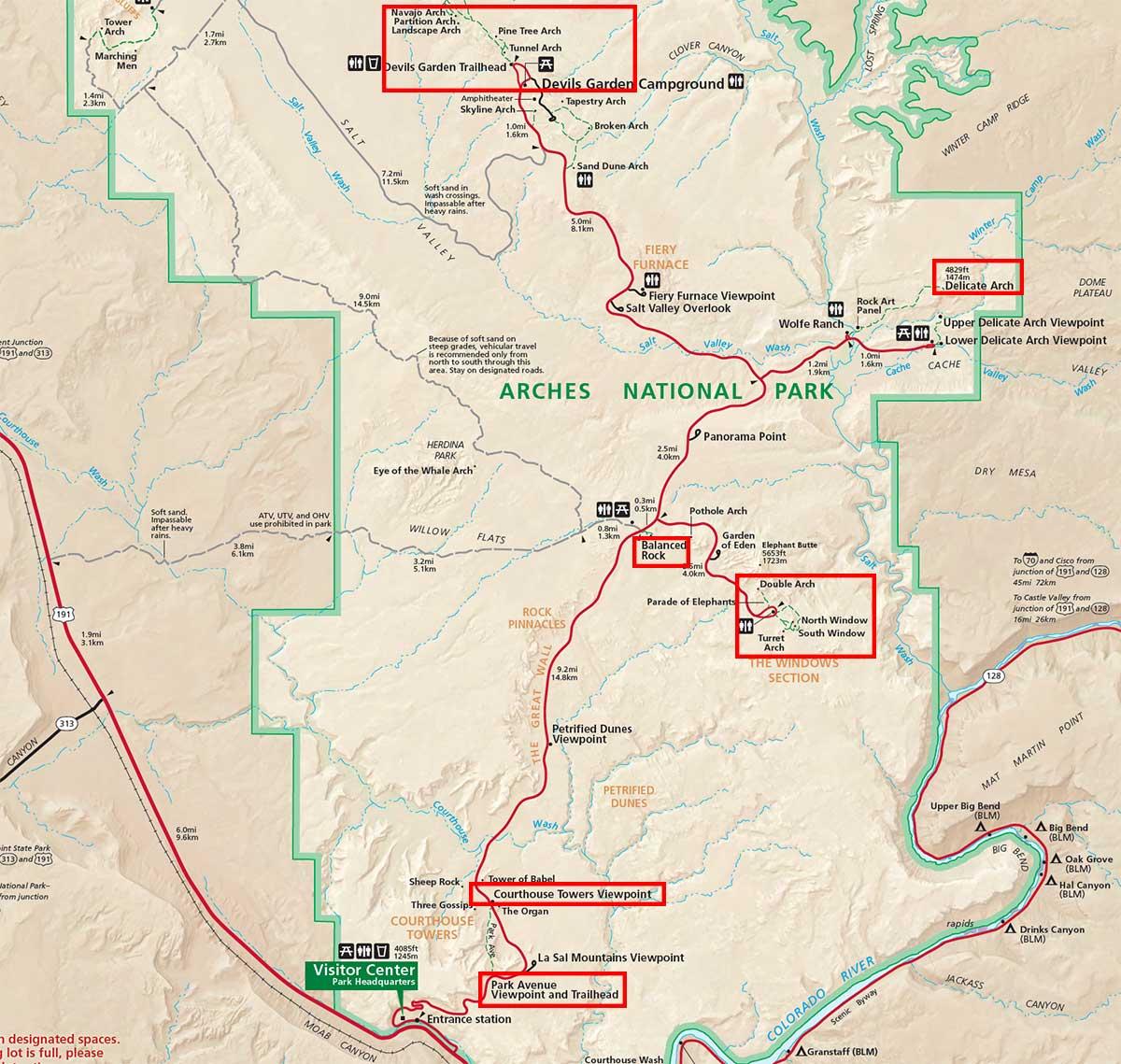 Mapa de Arches National Park
