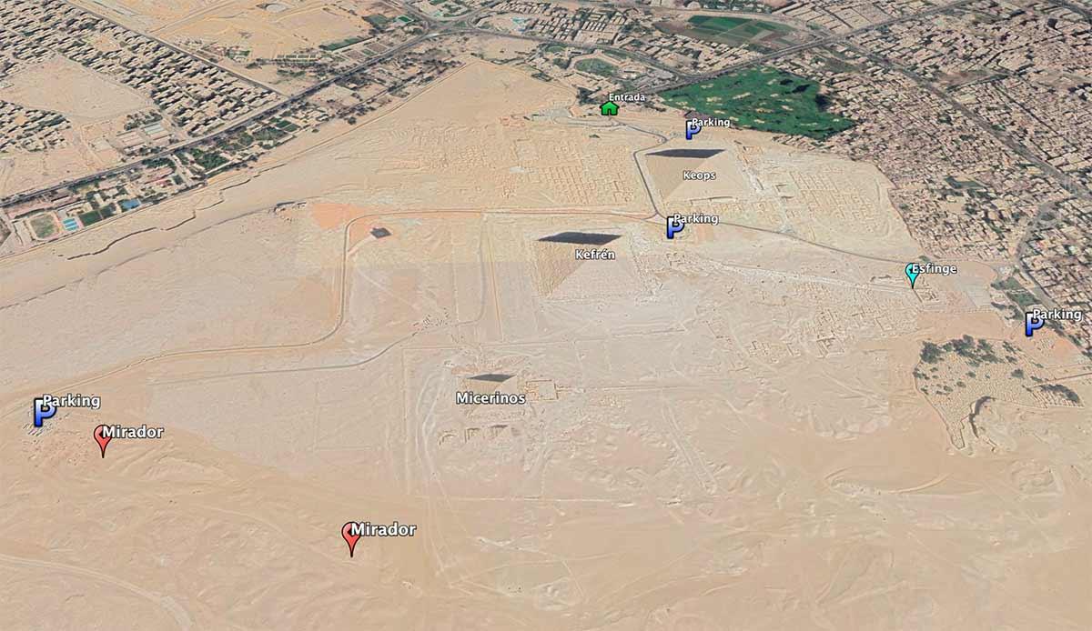 Mapa de las pirámides de Giza