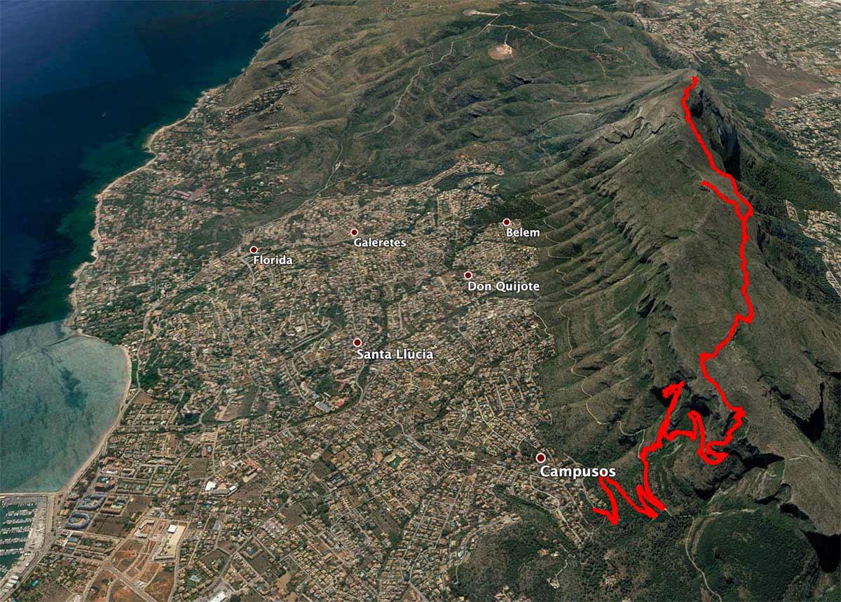 Mapa de la ruta al Montgó
