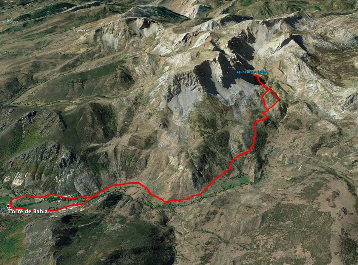 Mapa de la ruta a la laguna de las verdes