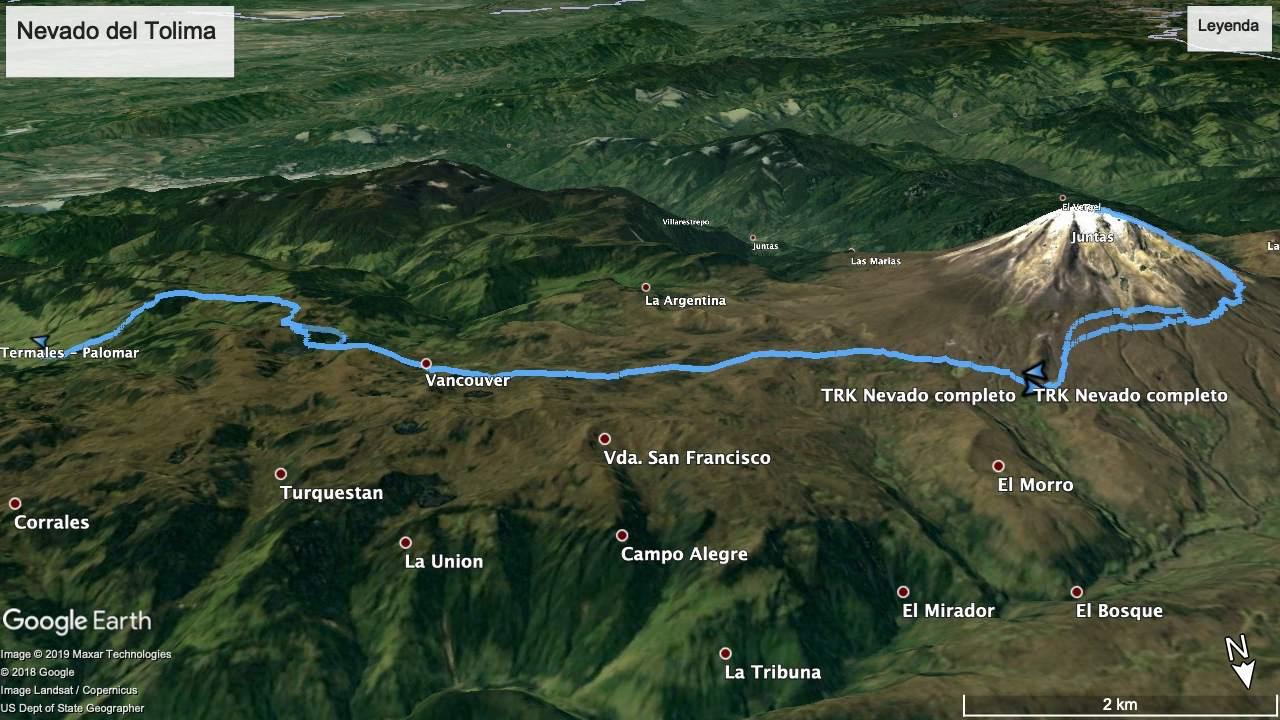 Mapa del Nevado del Tolima