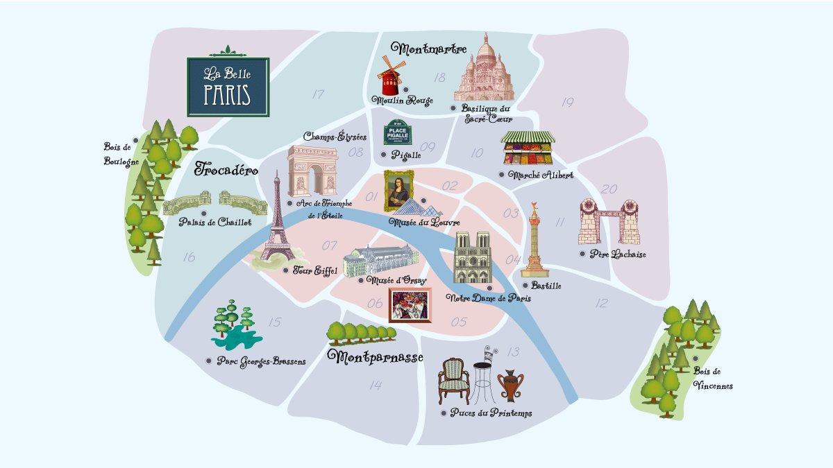 Mapa de los barrios de París