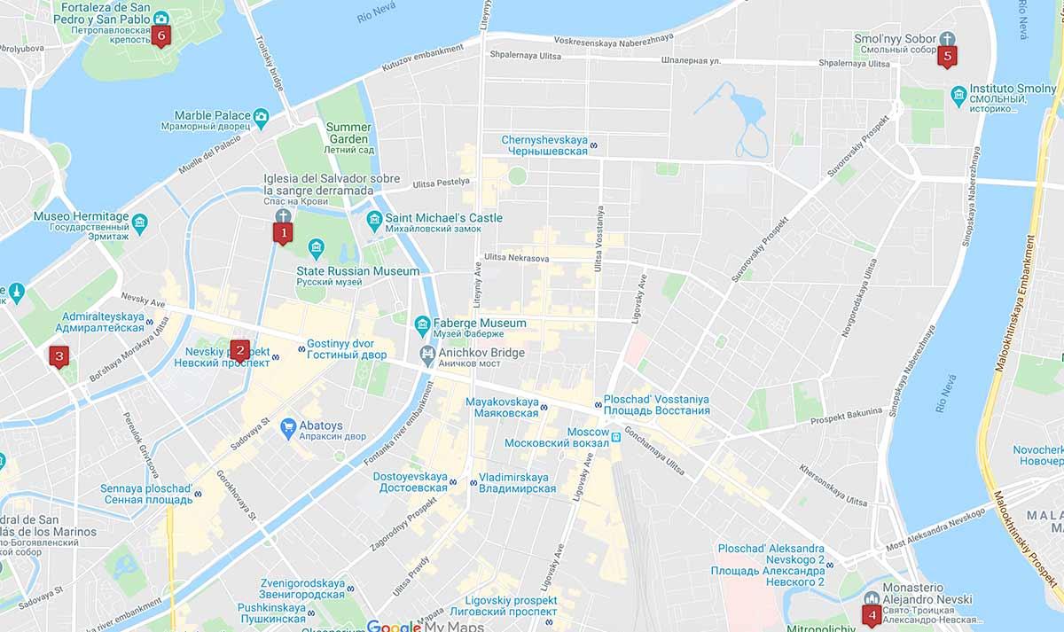 Mapa de las iglesias