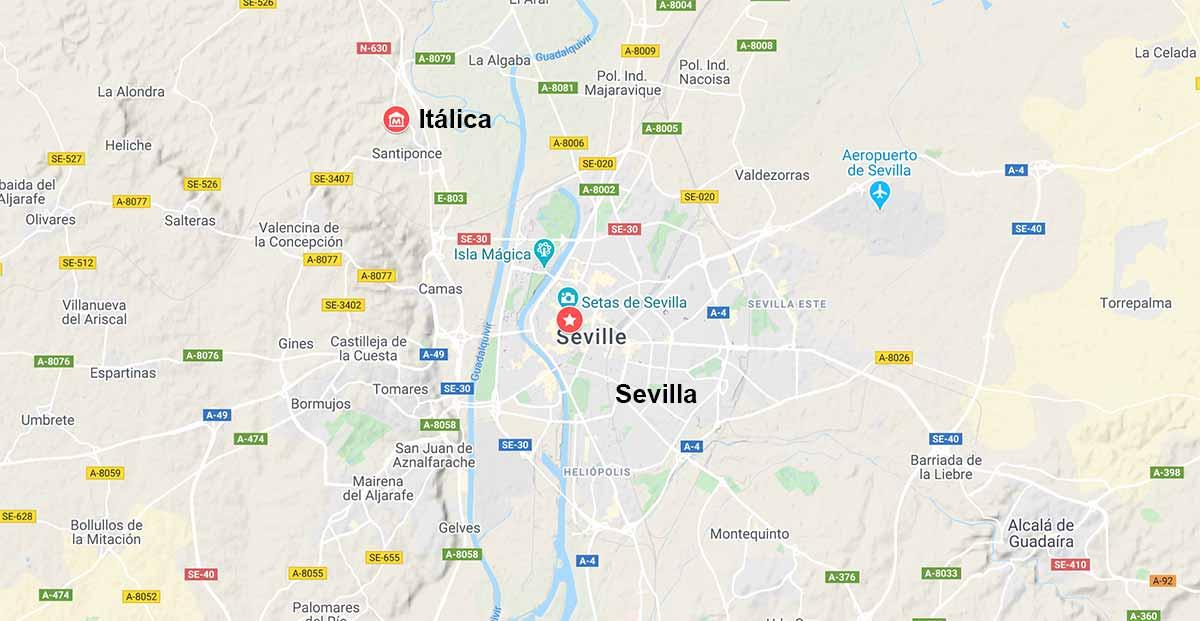 Mapa de Itálica