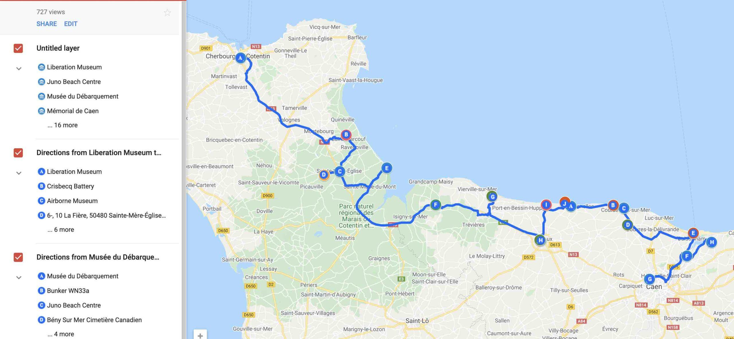 Mapa de Normandia