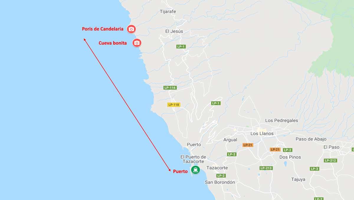 Ruta en barco desde Tazacorte